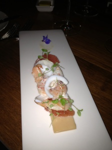 Prawn Mousseline, cuttlefish & prawn salad, ruby grapefruit, buerre noisette dressing