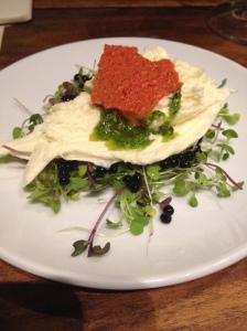 Buffalo Mozzarella Ballon, dehydrated tomato chips, balsamic caviar
