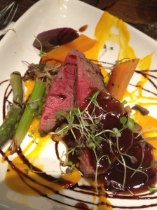 Medium Beef tenderloin, vegetables, red wine jus